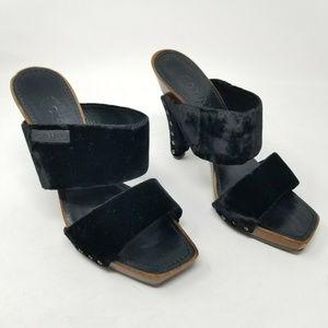 Chanel Velvet Wooden Platform Heels